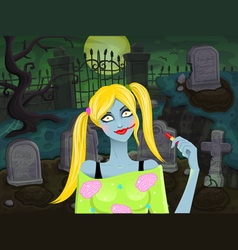 Back with zombie girl vector