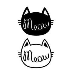 Black cat head silhouette contour set meow vector