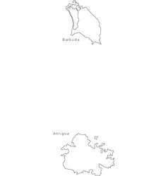 Black White Antigua Barbuda Outline Map vector image