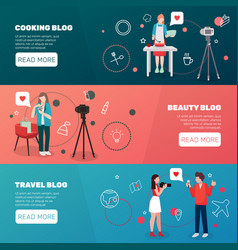 bloggers horizontal banners set vector image vector image
