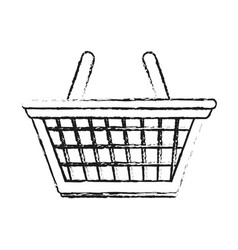 blurred silhouette cartoon shopping basket with vector image