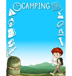 Border design with boy and camping gears vector