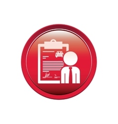 Button with car contract and salesman vector