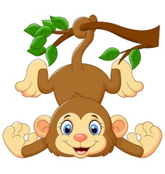 Cartoon funny monkey on a tree vector image vector image
