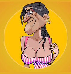 Cartoon scary woman with lush shapes of the chest vector