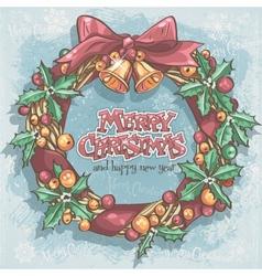Christmas card with a festive wreath and bells vector