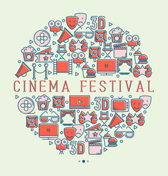 Cinema festival concept with thin line icons vector