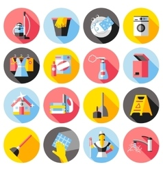 Cleaning service flat icons set vector