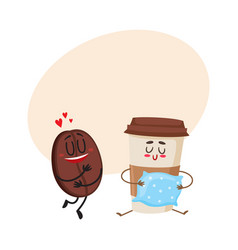 Coffee bean and espresso cup characters love for vector