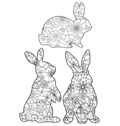 Coloring set rabbits vector image vector image
