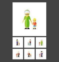 Flat icon people set of grandpa grandson grandma vector
