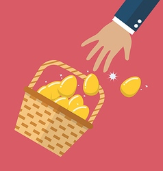 Golden eggs in basket slipped out of the hand vector
