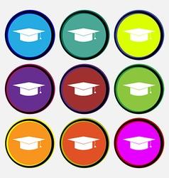 Graduation cap icon sign Nine multi colored round vector image