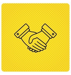 Handshake icon Deal agreement sign vector image
