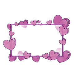 hearts love with frame pattern background vector image