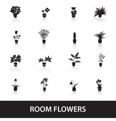 Home houseplants and flowers in pot icons eps10 vector