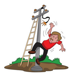 Man falling from ladder after an electric shock vector