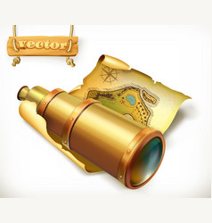 map and spyglass adventure 3d icon vector image vector image