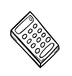 Old calculator in doodle style vector