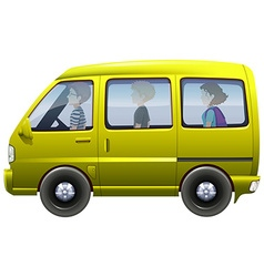 People riding in yellow van vector