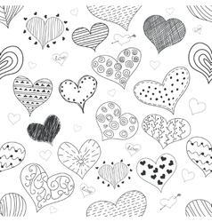 Seamless pattern sketch romantic love hearts retro vector
