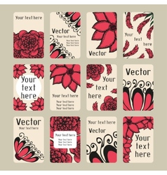 Set of business cards with doodling flowers vector image