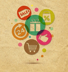Shopping Icons With Cardboard Background vector image vector image