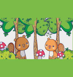 Squirrels in the forest cartoons vector