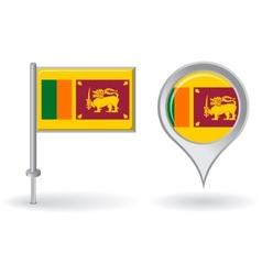 Sri Lanka pin icon and map pointer flag vector image vector image