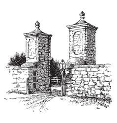 St augustine spanish gate vintage engraving vector