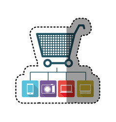 Sticker colorful shopping cart buy online icon vector