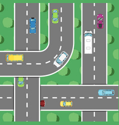 Top view highway traffic in rush hour poster vector