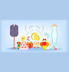 Wedding horizontal banner cartoon style vector