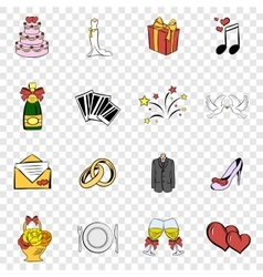 Wedding set icons vector