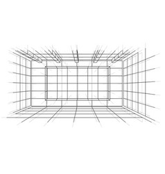 Wireframe interior sketch style vector