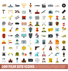 100 film site icons set flat style vector