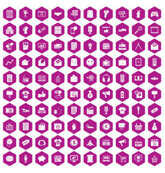 100 marketing icons hexagon violet vector
