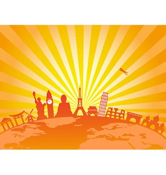 Travel around the world on golden sunburst vector
