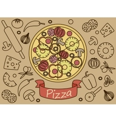 Pizza with ingredients banner vector