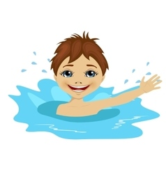 Active little boy swimming happy in the water vector