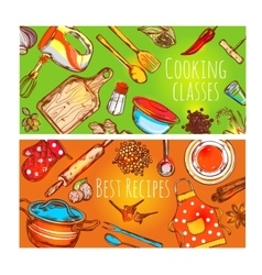 Cooking Classes Banners Set vector image