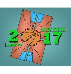 Happy new year and basketball vector