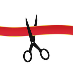 scissors cutting red ribbon white background vector image
