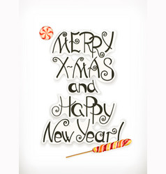 merry xmas and happy new year christmas lettering vector image