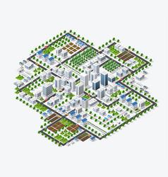 Isometric 3d metropolis city quarter with streets vector