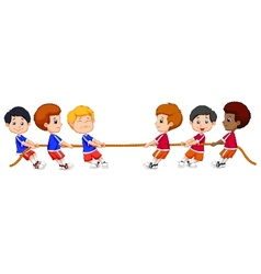 Group of children cartoon playing tug of war vector