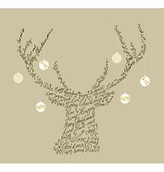 Christmas text shape reindeer bauble composition vector