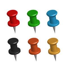 3d push pins on white background set 3d push vector