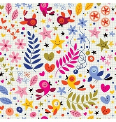 Cute birds flowers stars and hearts pattern 2 vector