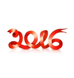 Red happy new year ribbon on white vector